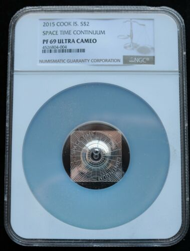 KAPPYS  COOK ISLANDS 2015 $2 PROOF  SPACE TIME CONTINUUM NGC PF69 ULTRA CAMEO