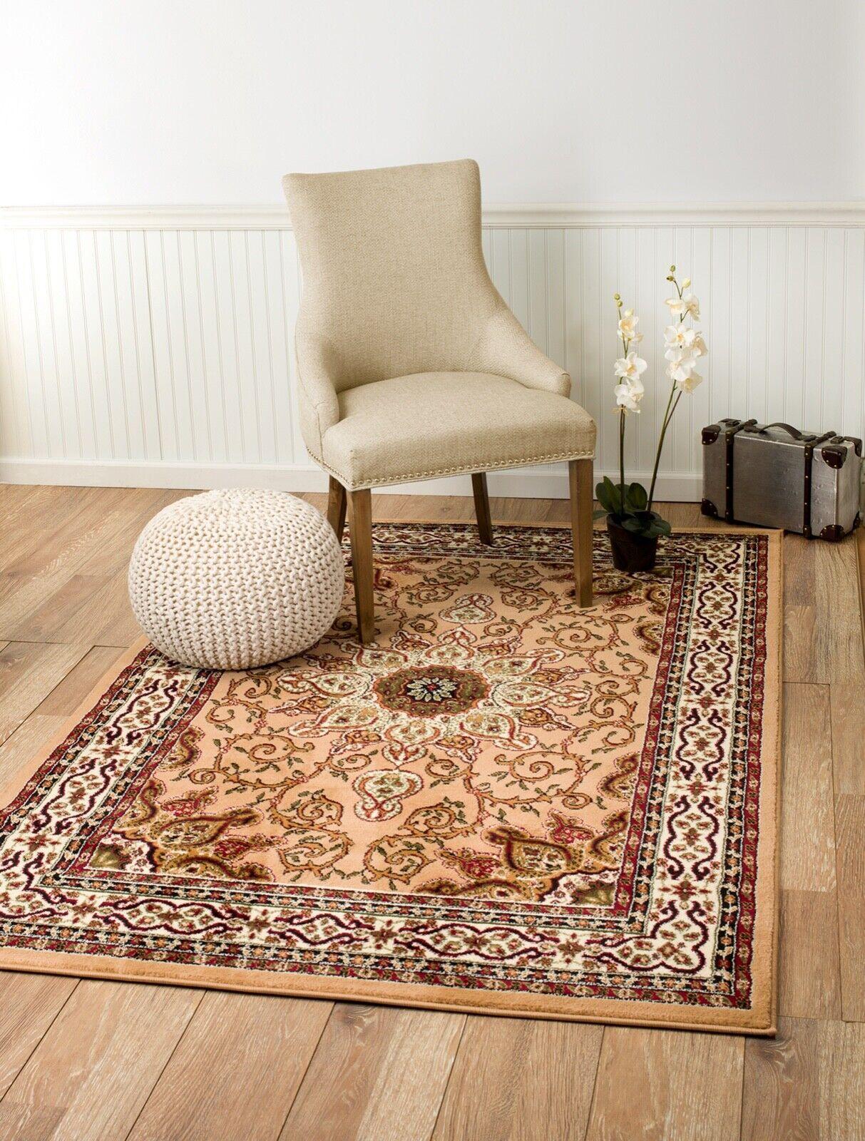 Area rug Smt#08 traditional beige and brown design soft pile