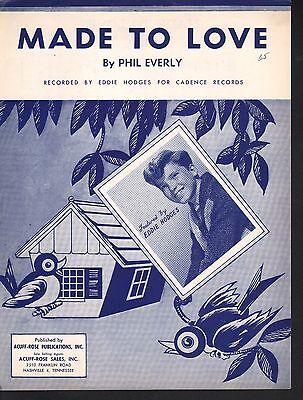 Made To Love 1960 Eddie Hodges Sheet Music