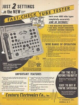 Century Fast Check Tube Tester Fc-2 Vintage Ad Advertisement