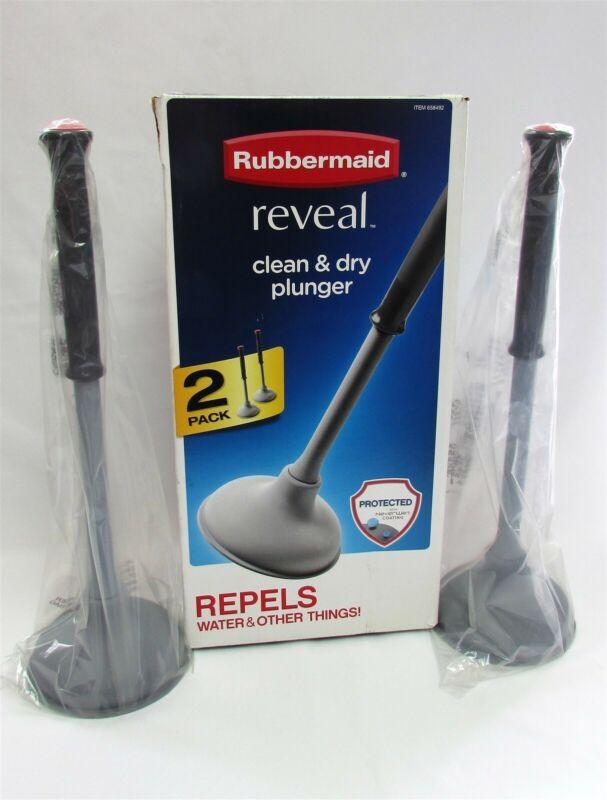 2 Pk Clean & Dry Toilet Plunger Rubbermaid Reveal 658492 NeverWet Coating Grey