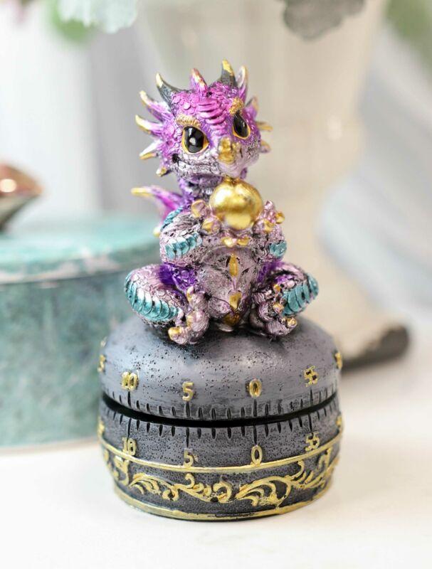 Purple Baby Wyrmling Dragon Holding Egg Decorative Kitchen Timer Figurine 60 Min
