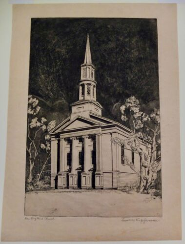"""Lawrence Kupferman 1937 Signed Etching """"New England Church"""" In Matte With Cover"""