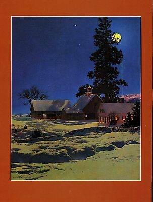 Maxfield Parrish Book Print  Moon Lit Night  Rural Scene House Barn Snow Cover