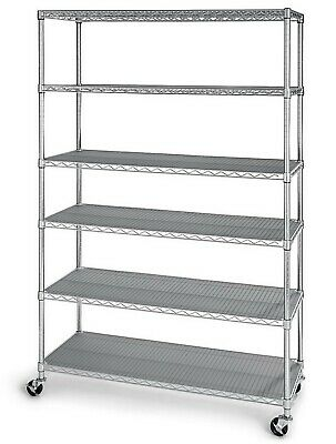 6 Shelf Wire Shelving Metal Storage Rack Heavy Duty Zinc Plated Steel
