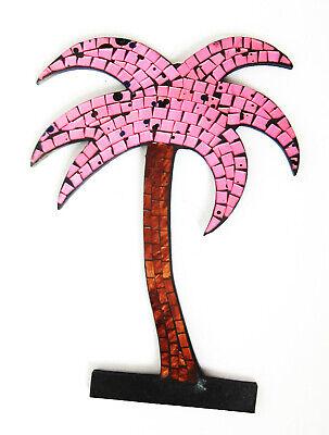 Reflectante Mosaico/Madera Rosa Brillante Palmas Decoración de Pared Placa