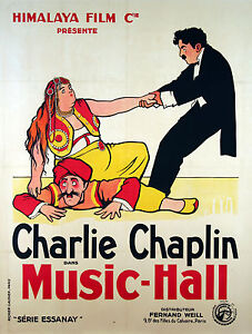 MUSIC-HALL-ORIGINAL-FRENCH-POSTER-CHARLIE-CHAPLIN-VERY-RARE