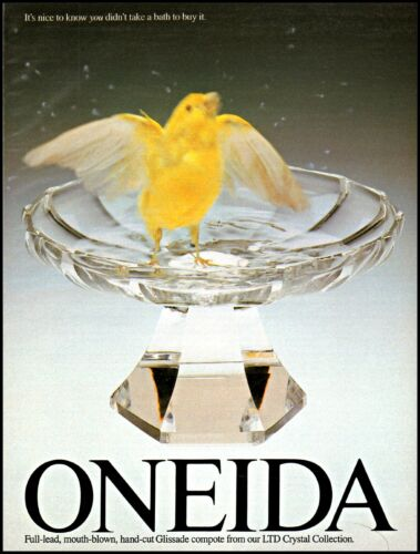 1988 Oneida crystal Glissade compote yellow bird vintage photo Print Ad ads29