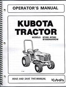 kubota tractor manual kubota b7400 b7500 tractor operator manual 6c120 63113