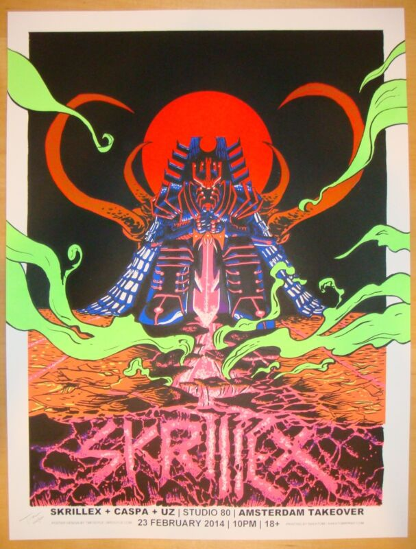 2014 Skrillex - Amsterdam Silkscreen Concert Poster by Tim Doyle s/n