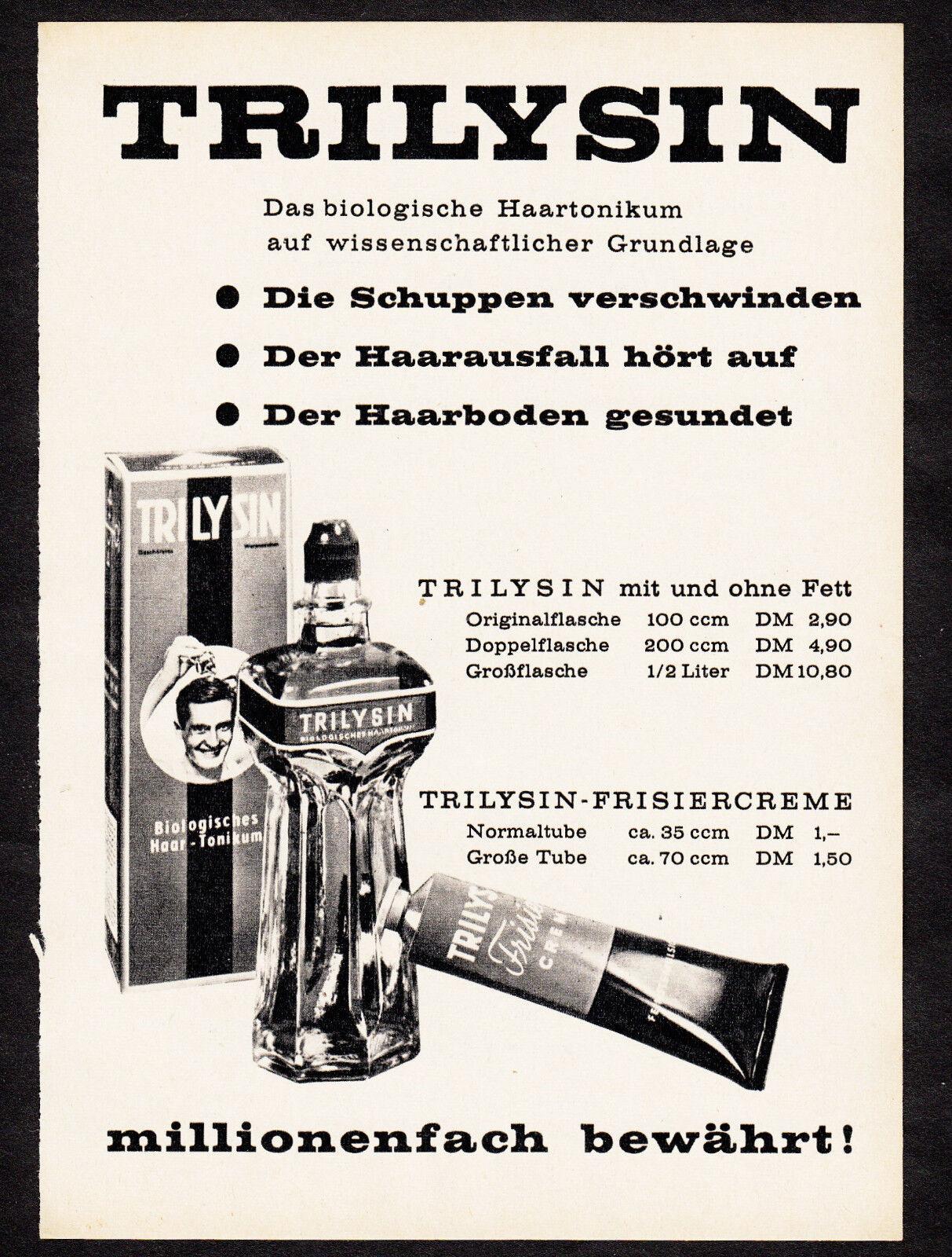 3w02381/ Alte Reklame von 1961 - TRILYSIN - Das biologische Haartonicum
