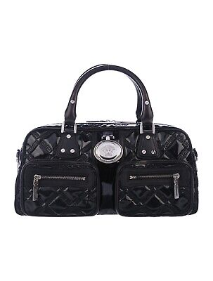 Versace Quilted Patent Leather Medusa Shoulder Bag