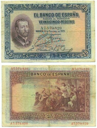 SPAIN NOTE 25 PESETAS 12.10.1926 SERIAL A P 71 VF