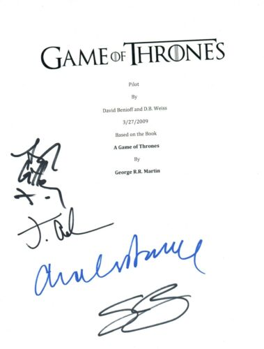 GAME OF THRONES Signed Pilot Script x4 Sean Bean Jacob Anderson Dance Gillen COA