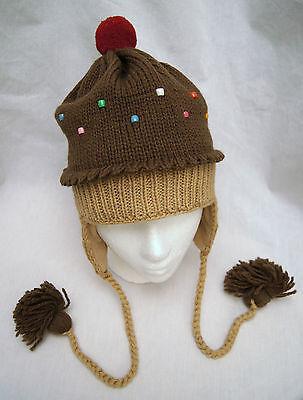 (deLux DARK CHOCOLATE CUPCAKE HAT knit beanie toque cup cake costume ADULT cap)