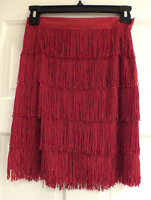 Vintage Flapper Style Red Skirt Dance Costume Fringe Halloween Size M 80s T47 - 80's Vintage Halloween Costumes