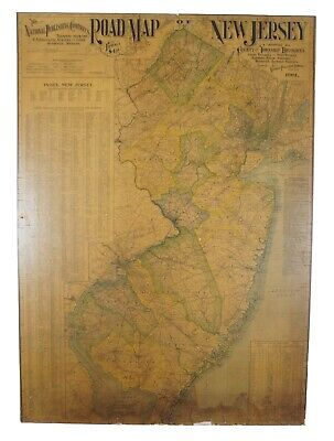 """Antique 1901 National Publishing Company's Road Map of New Jersey Geological 42"""""""