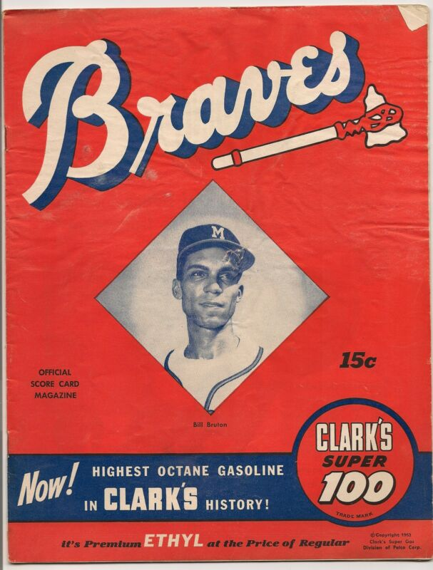 1953 Milwaukee Braves-Cardinals Program Schoendienst Drives Home Winner!!