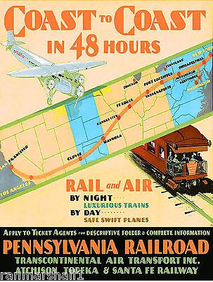 48 hour Coast Pennsylvania Liberty Vintage Railroad Travel Advertisement Poster