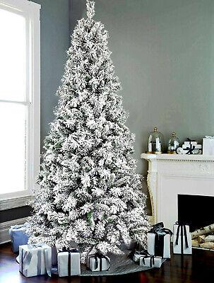 Albero Di Natale LADY Slim Bianco Neve Innevato 210Cm Salvaspazio e Super Folto