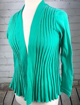 SKIES ARE BLUE Open Wrap Cardigan Sweater Sz S 100% Cotton Pleated - Pleated Wrap Sweater