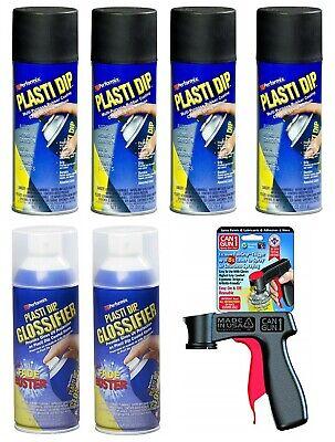 Plasti Dip Gloss Black Rim Kit - 4 Matte Black 2 Glossifier 1 Can Gun