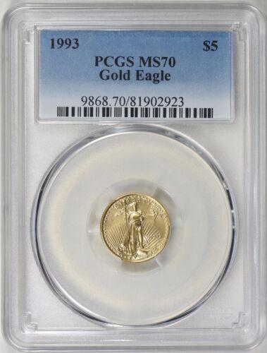 1993 $5 GOLD EAGLE PCGS MS70 LOW POP 48 COINS