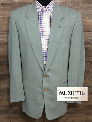 Pal Zileri Men's Wool Light Blue Houndstooth Plaid Blazer Sport Coat Jacket 38R
