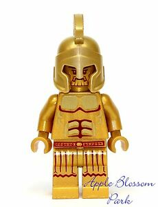 NEW Lego Atlantis Golden TEMPLE KING STATUE -Gold Helmet Muscle Minifigure 7985