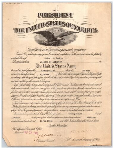 1918 U.S. Army Officer Appointment Colonel of Infantry Signed Secretary of War