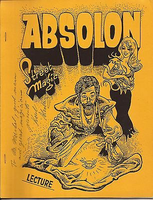 ABSOLON STREET MAGIC by Karel Absolon - Signed Lecture Notes