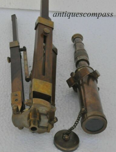 Solid Brass Telescope with Wooden Tripod Antique/Nautical/Vintage Decorative