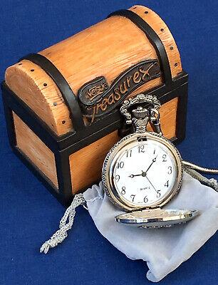 NEW ✅ VINTAGE NESTLE MILLENNIUM 1867-2000 POCKET WATCH, CHAIN, TREASURE BOX CASE