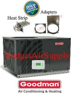 2.5 (2 1/2)Ton 14 seer Goodman A/C Package Unit  GPC1430H41+TSTAT+Heat+Adapter