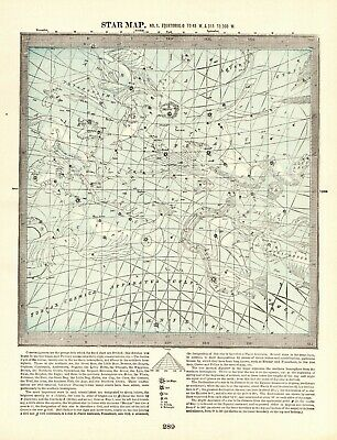 1898 Antique ASTRONOMY Print Star Constellation Map Chart Astrology Map 7777