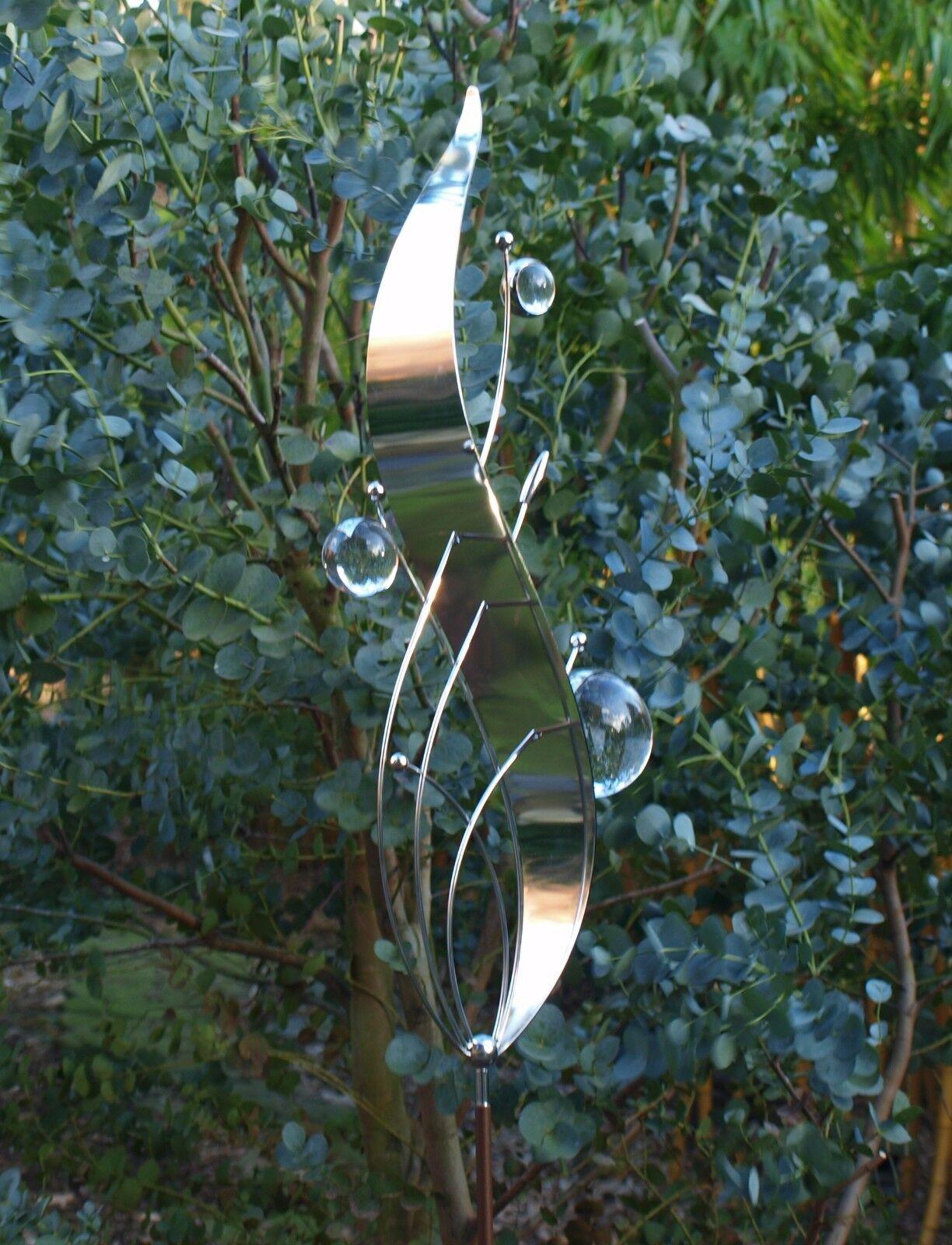 Gartenstecker Edelstahl Glas moderne Gartendeko Pflanzenstecker XL Welle 160 cm