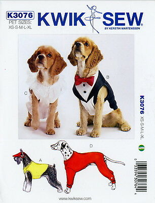 Kwik Sew Sewing Pattern K3076 Dog Clothes XS-XL Coats Hat Tuxedo collar tie 3076