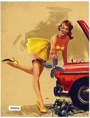 Risque Pin - Classic Retro Risque Pin Up Girls 4 Beautiful Prints