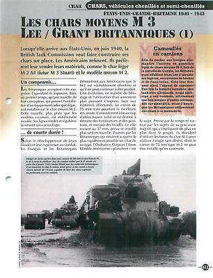 M 3 Lee / Grant US Army Great Britain UK WWII Tank Char FICHE FRANCE for sale  Shipping to Canada