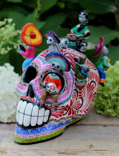 Sugar Skull with Peasants & Dog Day of the Dead Handmade Clay Mexican Folk Art