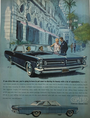 Pontiac Grand Prix Sedan Classic Car Magazine Print Ad Vintage Original 1962