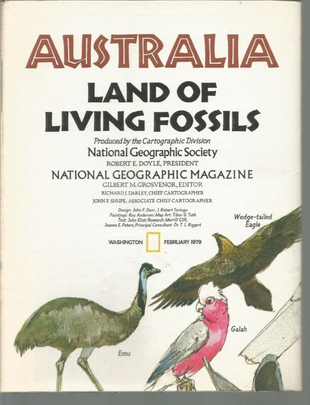 National Geographic Map Australia Land of Living Fossils February 1979