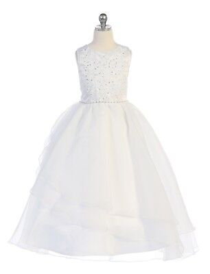Flower Girls White First Communion Dress Beaded Organza Wedding Party Easter