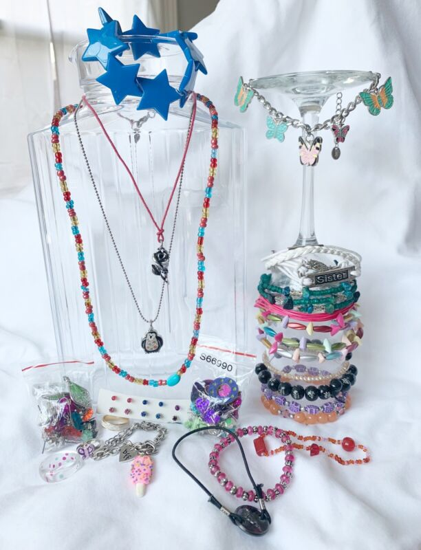 Girls Jewelry Bead Bracelets, Earrings Necklaces Lot
