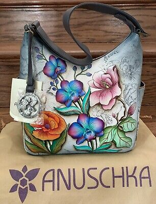 Anuschka FLORAL FANTASY Classic Hobo Bag Hand painted Leather 9