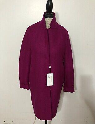 NWT Women's Harris Wharf London Cocoon Pressed Wool Coat, 44 IT, 8 US, Magenta