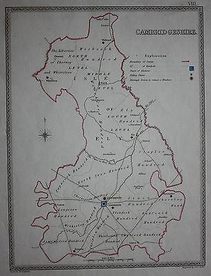 Original antique map CAMBRIDGESHIRE POLITICAL Samuel Lewis, J&C Walker, c.1835