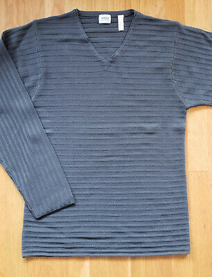 Armani Collezioni Men's V-Neck Sweater Pullover Gray Medium M Wool Laine Great! Gray Wool V-neck Sweater