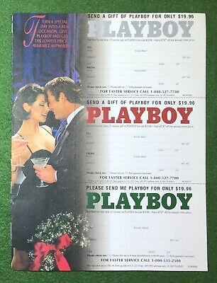 Vintage 1990s PLAYBOY magazine subscription ad 2 sided cards gifts CHRISTMAS