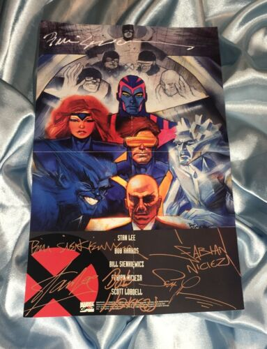 THE X-MEN~PROMOTIONAL MINI POSTER~HAND-SIGNED BY BILL SIENKIEWICZ~MARVEL/MOVIE~